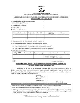 GOVERNMENT OF KERALA DIRECTORATE OF HIGHER SECONDARY EDUCATION APPLICA