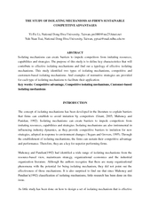 THE STUDY OF ISOLATING MECHANISMS AS FIRM'S SUSTAINABLE  ...