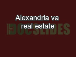 Alexandria va real estate
