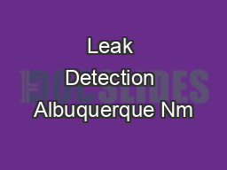 Leak Detection Albuquerque Nm