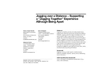 Jogging over a Distance – Supporting