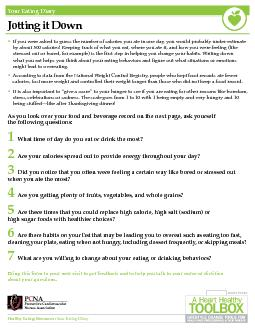 Healthy Eating Resources: Your Eating DiaryYour Eating DiaryJotting it