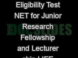 CSIR UGC National Eligibility Test NET for Junior Research Fellowship and Lecturer ship LIFE SCIENCES