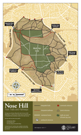 Nose Hill Park Trails and Pathways designated trails designated pathways maintained tracks parking lot entrances community entrances tunnel entrances multiuse zone offleash dog zone The large area at