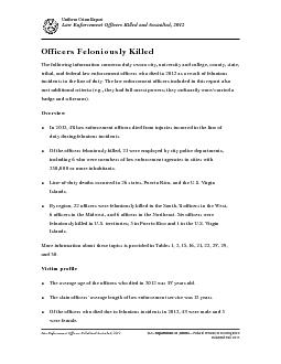 Uniform Crime ReportLaw Enforcement Officers Killed and Assaulted, 201 PowerPoint PPT Presentation