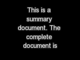 This is a summary document. The complete document is