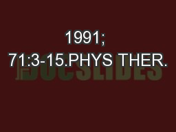 1991; 71:3-15.PHYS THER.