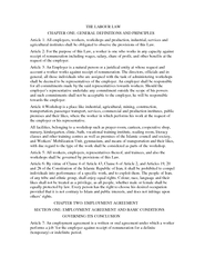 THE LABOUR LAW                  CHAPTER ONE: GENERAL DEFINITIONS AND P