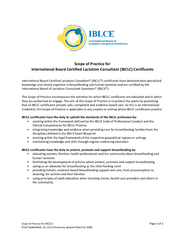 Scope of Practice for IBCLCsPage of FinalSeptember 15, 2012 (Previousl