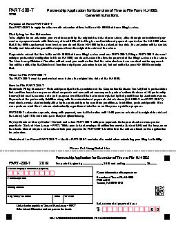 PARTNERSHIP APPLICATION FOR EXTENSION OF TIME TO FILE RETURN PART For period beginning   and ending   PARTT  Enter amount of payment here Make checks payable to State of New JerseyPART