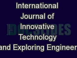 International Journal of Innovative Technology and Exploring Engineeri