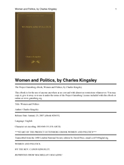The Project Gutenberg eBook, Women and Politics, by Charles KingsleyTh