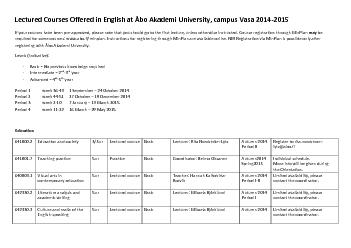 Lectured Courses Offered in English at