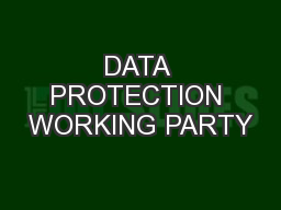 DATA PROTECTION WORKING PARTY