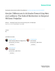 Gender Differences in Attitudes Toward Gayto Respond Without Prejudice
