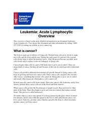 Leukemia: Acute Lymphocytic Overview This overview is based on the mor