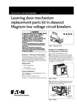Levering door mechanismreplacement parts kit in drawoutMagnum low volt