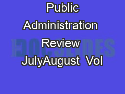 Public Administration Review JulyAugust  Vol