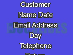 Repair Service Request Customer Name Date Email Address Day Telephone Return Address Must be Street Address
