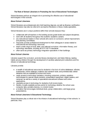 The Role of School Librarians in Promoting the Use of Educational Tech