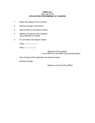 APPLICATION FOR RENEWAL OF LICENCES