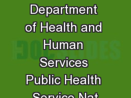 U.S. Department of Health and Human Services Public Health Service Nat