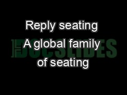 Reply seating A global family of seating