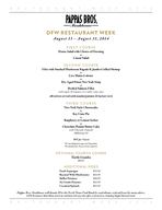 RESTAURANT WEEK     RESTAURANT WEEK     DFW RESTAU ANT WEEK August   August   FIRST COURSE House Salad with Choice of Dressing or Caesar Salad OND COURSE Filet with Smoked Mushroom Ragot  Jumbo Grille