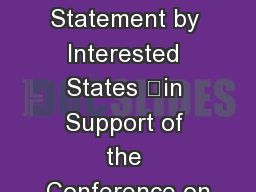 Joint Statement by Interested States in Support of the Conference on