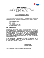 BEML LIMITED (Formerly BHARAT EARTH MOVERS LIMITED) (A Govt. of India
