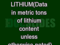 LITHIUM(Data in metric tons of lithium content unless otherwise noted)