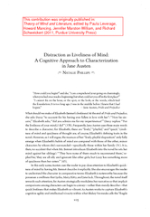 Distraction as Liveliness of Mind:                A Cognitive Approach