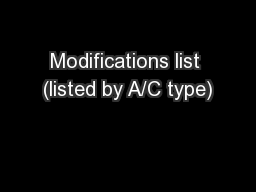 Modifications list (listed by A/C type)