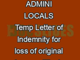 C DOCUME ADMINI LOCALS Temp Letter of Indemnity for loss of original share certificates
