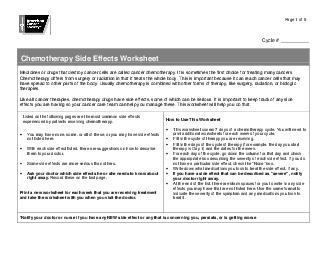 Page of  Cycle  Chemotherapy Side Effects Worksheet Medicines or drugs that destroy cancer cells are called cancer chemotherapy