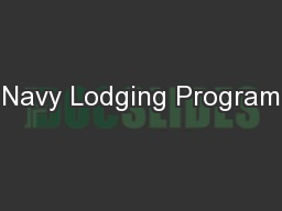 Navy Lodging Program