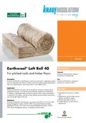 Earthwool Loft Roll 40 is a exible glass mineral wool quilt which is