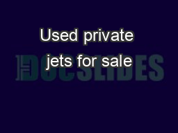 Used private jets for sale