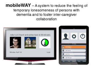 mobileWAYA system to reduce the feeling of temporary lonesomeness of p