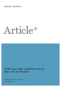Worlds Apart: EPC and EPCM Contracts: