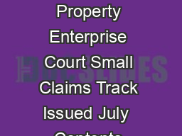 Guide to the Intellectual Property Enterprise Court Small Claims Track Issued July  Contents Contents