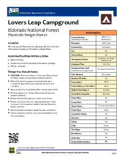 Lovers Leap CampgroundEldorado National Forest District: Placerville R