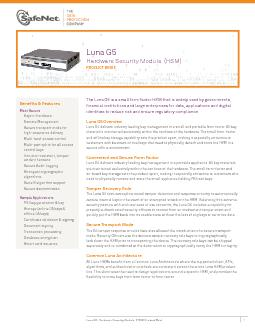 The Luna G5 is a small form factor HSM that is widely used by governme
