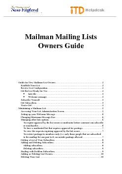 Mailman Mailing ListsOwners Guide          Guide for New Mailman Li