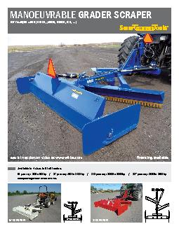 Available in 4 sizes to �t all tractors(180 cm) : 30 to 50