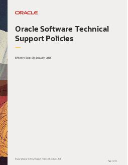 Oracle Software Technical Support Policies November  Page of  Oracle Software Technical Support Policies Effective Date November  Table of Contents