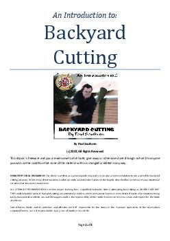 Page of  Backyard Cutting By Paul Southren c  All Rights Reserved This ebook is freeware and you are welcome to distribute give away or otherwise share though not sell to anyone you wish on the condit