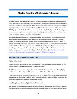 Tips for Choosing a TESOL Master