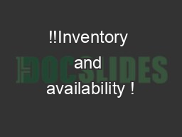 !!Inventory and availability ! PDF document - DocSlides