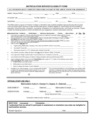 MATRICULATION SERVICES ELIGIBILITY FORM NAME: (Please PRINT) _________ PDF document - DocSlides